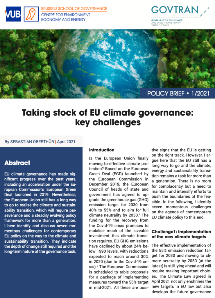 Policy Brief: Taking stock of EU climate governance: Key challenges